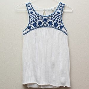 American Eagle White Blue Embroidered Tank